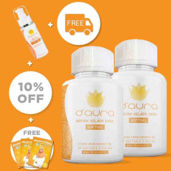 D'Aura minyak kelapa dara capsule malaysia mudah bersalin tips ibu hamil COMBO PRE ORDER 2pcs softgel capsule 2